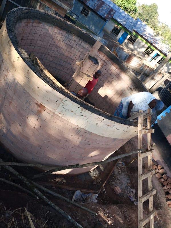 kambiri rainwater catchment tank finished walls